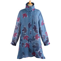 Midnight Leaves Batik Linen Tunic