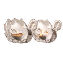 Crystal Swan Tea Light Holders