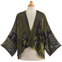 Peridot Paisley Velvet Cropped Jacket