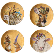 Vicki Sawyer Woodsy and Wise Animal Plates - Set of 4