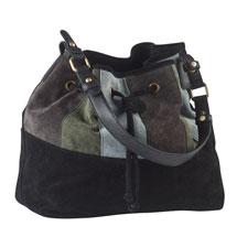Colorblock Suede Drawstring Handbag