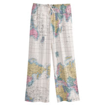 Women's World Map 100% Cotton Capri Pajamas