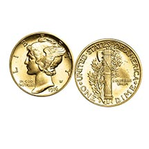 Gold-Layered Mercury Dime Cufflinks