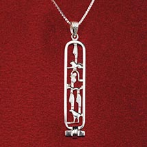 Personalized Egyptian Cartouche Pendant & Chain Jewelry in Sterling Silver