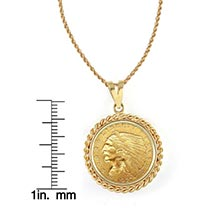 "$2.50 Indian Head Gold Piece Quarter Eagle Coin In 14K Gold Rope Bezel (18"" - 14K Gold Rope Chain)"