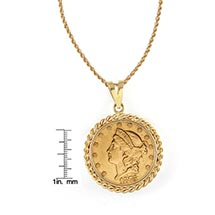 "$20 Liberty Gold Piece Double Eagle Coin In 14K Gold Rope Bezel (18"" - 14K Gold Rope Chain)"