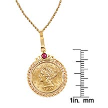 "$2.50 Liberty Gold Piece Quarter Eagle Coin In 14K Gold Twisted Rope Bezel W/Ruby (18"" - 14K Gold Rope Chain)"