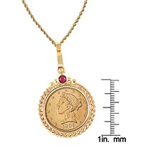 "$5 Liberty Gold Piece Half Eagle Coin In 14K Gold Twisted Rope Bezel W/Ruby (18"" - 14K Gold Rope Chain)"