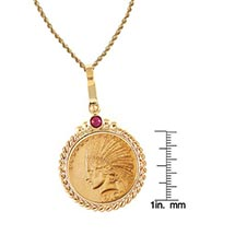 "$10 Indian Head Gold Piece Eagle Coin 14K Gold Twisted Rope Bezel W/Ruby (18"" - 14K Gold Rope Chain)"