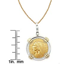 "$2.50 Indian Head Gold Piece Quarter Eagle Coin In Sterling Silver & 14K Gold Bezel (18"" - 14K Gold Rope Chain)"