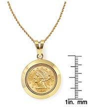 "$2.50 Liberty Gold Piece Quarter Eagle Coin In 14K Dome Shape Bezel (18"" - 14K Gold Rope Chain)"