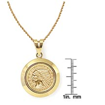 "$5 Indian Head Gold Piece Half Eagle Coin In 14K Dome Shape Bezel (18"" - 14K Gold Rope Chain)"