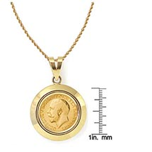 "King George V Gold Sovereign Coin In 14K Dome Shape Bezel (18"" - 14K Gold Rope Chain)"