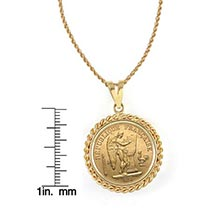 "French 20 Franc Lucky Angel Gold Piece Coin In 14K Gold Rope Bezel (18"" - 14K Gold Rope Chain)"