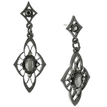 Downton Abbey Petite Faux Jet Drop Earrings