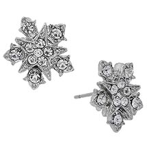 Downton Abbey Silver Tone Starburst Crystal Button Earrings