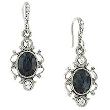 Downton Abbey Silver Tone Blue Sapphire Crystal Oval Drop Earrings