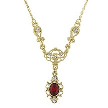 Downton Abbey Gold Tone Filigree and Ruby Crystal Drop Necklace