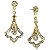 Downton Abbey Crystal Pave Gold Tone Fleur Drop Earrings