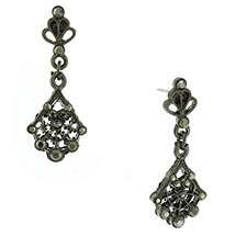 Downton Abbey Faux Jet Jeweled Fan Drop Earrings
