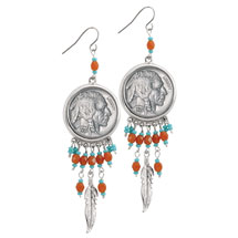 Buffalo Nickel Silvertone Feather Earrings