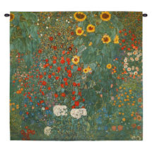 "Klimt Farm Garden with Sunflowers Tapestry - 30"" Square"
