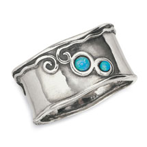Sterling Waves & Opals Ring