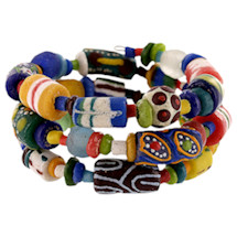 Ghana African Recycled Glass Bead Coil Bracelet - Handcrafted Fair Trade