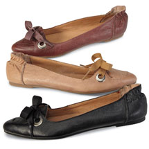 Josephine Ribbon Flats Slip On Leather Shoes