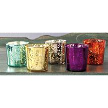 Quicksilver Mercury Glass Votive Set