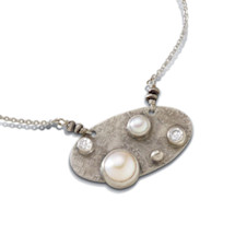 Pearl and White Zircon Pendant