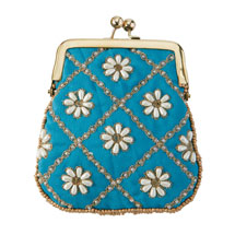 Embroidered Coin Purse - Turquoise