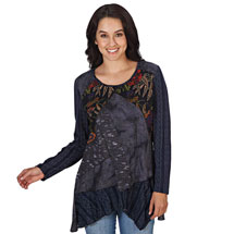 Indigo Patch-Piece Tunic Top