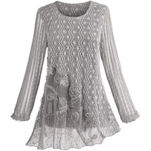 Greige Lacey Knit Tunic Top
