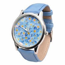 Flower Face Leather-Band Watches - Forget-Me-Nots