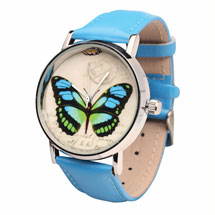 Blue Butterfly Leather-Band Watch