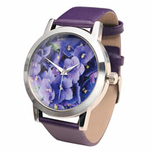 Flower Face Leather-Band Watches - Sweet Violets