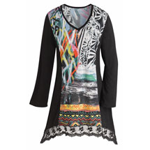 Crazy Colorful Lace Hem Tunic Top