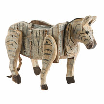 Carved Wood Zebra Planter