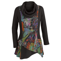 Cowl Neck Stained Glass Tunic Top