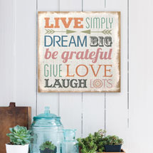 Love Simply Typography Burlap Wall Décor