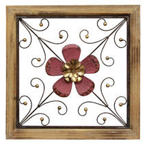 Floral Square Wall Décor - Red
