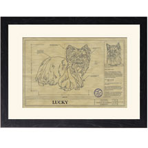 Personalized Framed Dog Breed Architectural Renderings - Yorkshire Terrier