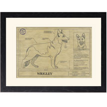 Personalized Framed Dog Breed Architectural Renderings - German Shepherd