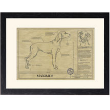 Personalized Framed Dog Breed Architectural Renderings - Great Dane
