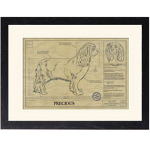Personalized Framed Dog Breed Architectural Renderings - Cavalier King Charles