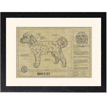 Personalized Framed Dog Breed Architectural Renderings - Goldendoodle
