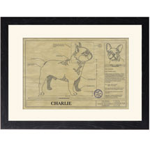 Personalized Framed Dog Breed Architectural Renderings - French Bulldog
