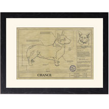 Personalized Framed Dog Breed Architectural Renderings - Pembroke Welsh Corgi
