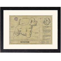 Personalized Framed Dog Breed Architectural Renderings - West Highland White Terrier